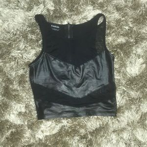 Black mesh Bebe crop top